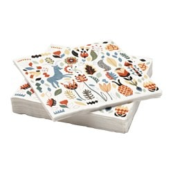 FINSTILT paper napkin, flowers, animal Length: 33 cm Width: 33 cm Package quantity: 30 pieces