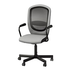 "FLINTAN /  NOMINELL swivel chair with armrests, gray Tested for: 242 lb 8 oz Width: 29 1/8 "" Depth: 27 1/8 "" Tested for: 110 kg Width: 74 cm Depth: 69 cm"