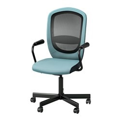 "FLINTAN /  NOMINELL swivel chair with armrests, turquoise Tested for: 242 lb 8 oz Width: 29 1/8 "" Depth: 27 1/8 "" Tested for: 110 kg Width: 74 cm Depth: 69 cm"