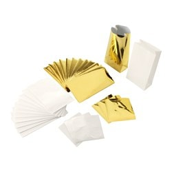 VINTER 2016 48-piece gift bag and stickers set, gold-colour, white Length: 10 cm Width: 5 cm Height: 18 cm