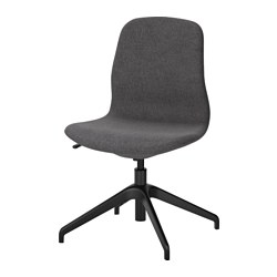 LÅNGFJÄLL swivel chair, Gunnared dark grey, black