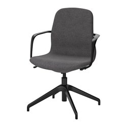"LÅNGFJÄLL swivel chair, Gunnared dark gray, black Tested for: 243 lb Width: 26 3/8 "" Depth: 26 3/8 "" Tested for: 110 kg Width: 67 cm Depth: 67 cm"