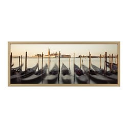 "BJÖRKSTA picture and frame, Venetian viewpoint, brass color Width: 55 "" Height: 22 "" Width: 140 cm Height: 56 cm"