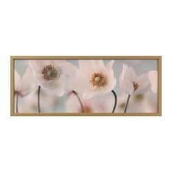 "BJÖRKSTA picture and frame, row of whites, brass color Width: 55 "" Height: 22 "" Width: 140 cm Height: 56 cm"