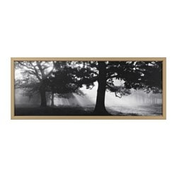 "BJÖRKSTA picture and frame, Meadow Dream II, brass color Width: 55 "" Height: 22 "" Width: 140 cm Height: 56 cm"