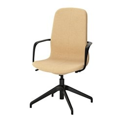 "LÅNGFJÄLL swivel chair, Gunnared yellow, black Tested for: 243 lb Width: 26 3/8 "" Depth: 26 3/8 "" Tested for: 110 kg Width: 67 cm Depth: 67 cm"