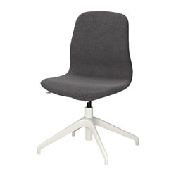 "LÅNGFJÄLL swivel chair, Gunnared dark gray, white Tested for: 243 lb Width: 26 3/8 "" Depth: 26 3/8 "" Tested for: 110 kg Width: 67 cm Depth: 67 cm"