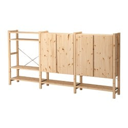 "IVAR 3 section shelving unit w/cabinets, pine Width: 102 "" Depth: 11 3/4 "" Height: 48 7/8 "" Width: 259 cm Depth: 30 cm Height: 124 cm"