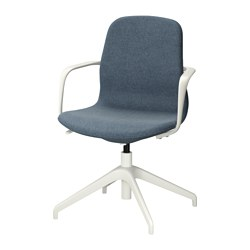"LÅNGFJÄLL swivel chair, Gunnared blue, white Tested for: 243 lb Width: 26 3/8 "" Depth: 26 3/8 "" Tested for: 110 kg Width: 67 cm Depth: 67 cm"