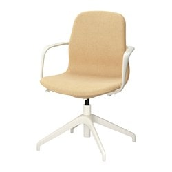 "LÅNGFJÄLL swivel chair, Gunnared yellow, white Tested for: 243 lb Width: 26 3/8 "" Depth: 26 3/8 "" Tested for: 110 kg Width: 67 cm Depth: 67 cm"