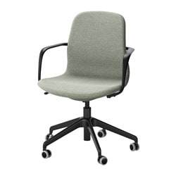 LÅNGFJÄLL swivel chair, Gunnared light green, black Tested for: 110 kg Width: 68 cm Depth: 68 cm