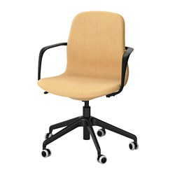 "LÅNGFJÄLL swivel chair, Gunnared yellow, black Tested for: 243 lb Width: 26 3/4 "" Depth: 26 3/4 "" Tested for: 110 kg Width: 68 cm Depth: 68 cm"