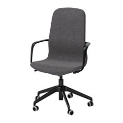"LÅNGFJÄLL swivel chair, Gunnared dark gray, black Tested for: 243 lb Width: 26 3/4 "" Depth: 26 3/4 "" Tested for: 110 kg Width: 68 cm Depth: 68 cm"