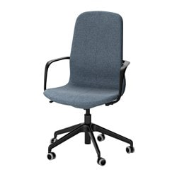 "LÅNGFJÄLL swivel chair, Gunnared blue, black Tested for: 243 lb Width: 26 3/4 "" Depth: 26 3/4 "" Tested for: 110 kg Width: 68 cm Depth: 68 cm"