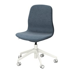 "LÅNGFJÄLL swivel chair, Gunnared blue, white Tested for: 243 lb Width: 26 3/4 "" Depth: 26 3/4 "" Tested for: 110 kg Width: 68 cm Depth: 68 cm"