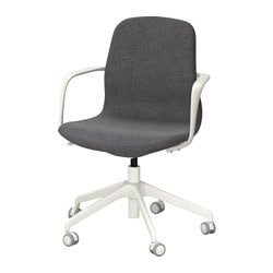 "LÅNGFJÄLL swivel chair, Gunnared dark gray, white Tested for: 243 lb Width: 26 3/4 "" Depth: 26 3/4 "" Tested for: 110 kg Width: 68 cm Depth: 68 cm"