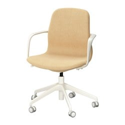 "LÅNGFJÄLL swivel chair, Gunnared yellow, white Tested for: 243 lb Width: 26 3/4 "" Depth: 26 3/4 "" Tested for: 110 kg Width: 68 cm Depth: 68 cm"