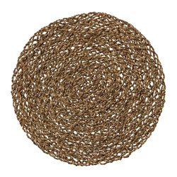 IHÅLLIG place mat, natural, seagrass Diameter: 37 cm