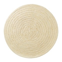 SLUTEN place mat, palm leaf, natural Diameter: 37 cm