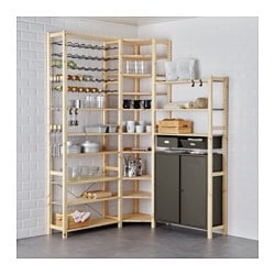 IVAR 3 section shelving unit w/cabinets, pine, gray