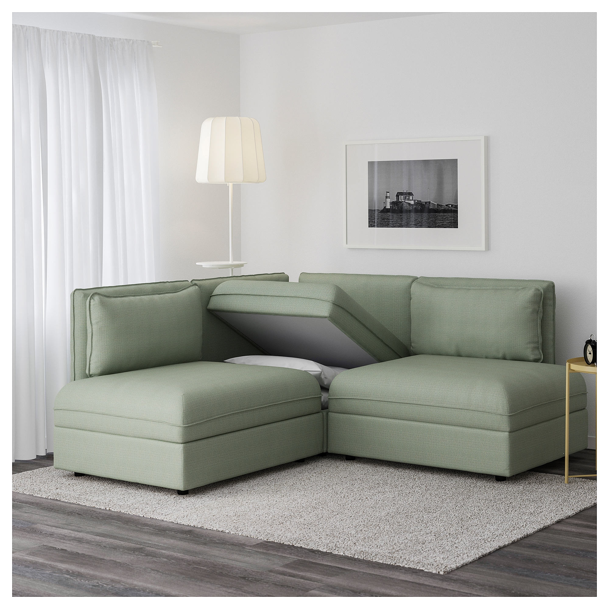 VALLENTUNA Sleeper sectional 2 seat Hillared green IKEA