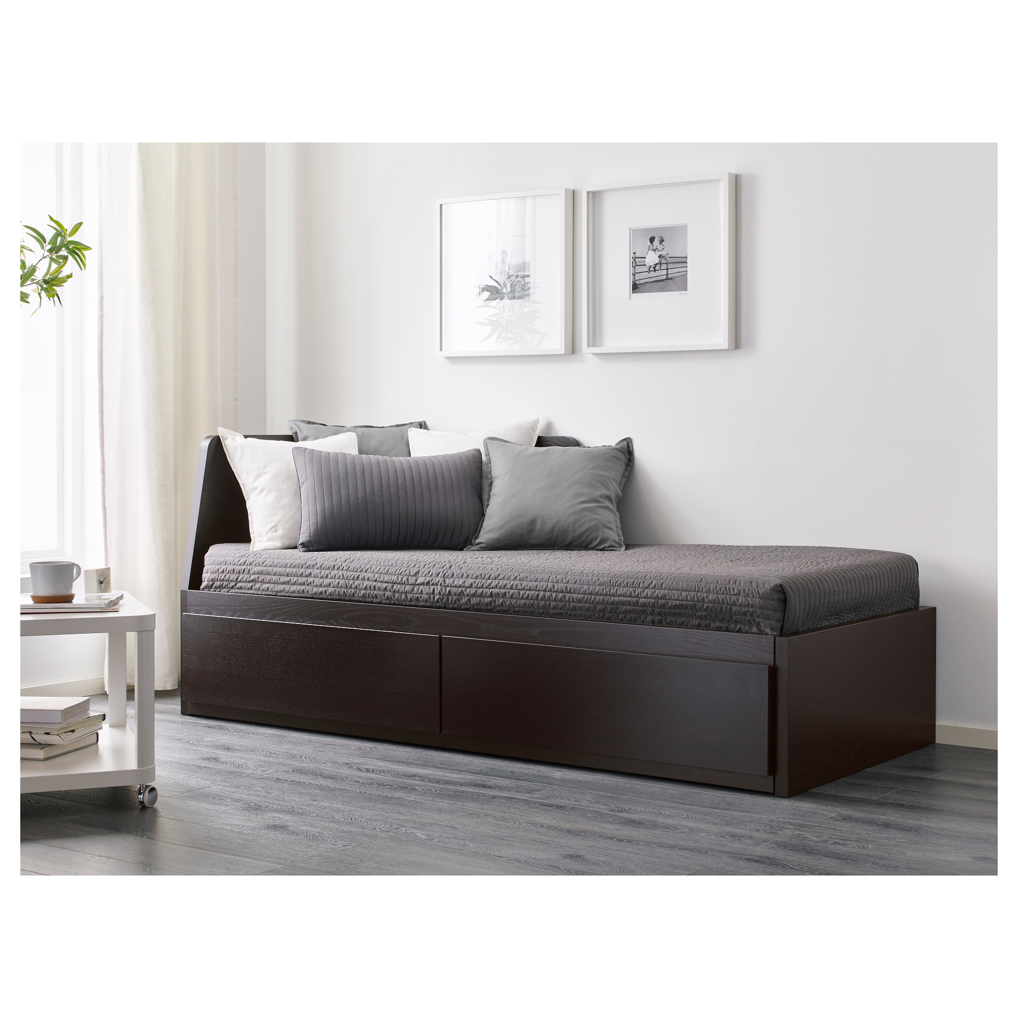 Daybed With 2 Drawers/2 Mattresses FLEKKE Black Brown, Meistervik Firm