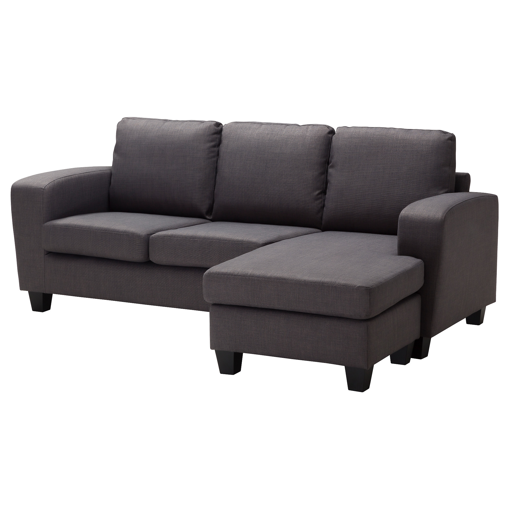 BALDERUM Two-seat sofa with chaise longue - Skiftebo dark grey - IKEA