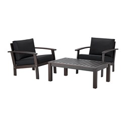 KLÖVEN conversation set, outdoor, brown stained, Kungsö black black