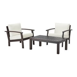 KLÖVEN /  KUNGSÖ conversation set, outdoor, brown stained, white