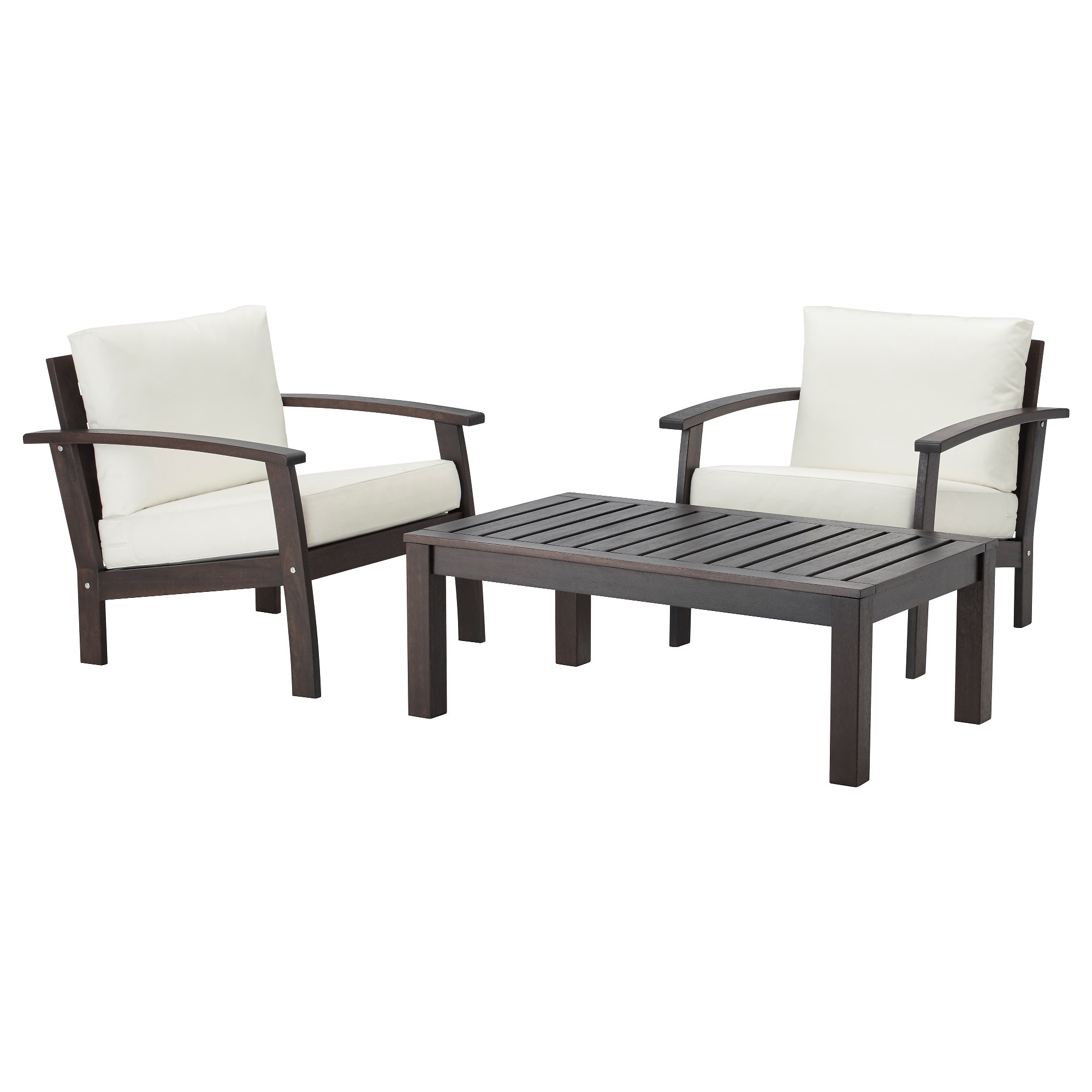 KLÖVEN / KUNGSÖ Conversation Set, Outdoor, Brown Stained, White Part 93
