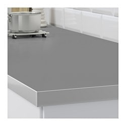 HÄLLESTAD Countertop, Double Sided, White, Aluminum Effect With Metal  Effect Edge