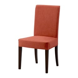 HENRIKSDAL chair, brown, Skiftebo dark orange Tested for: 110 kg Width: 51 cm Depth: 58 cm