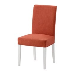 HENRIKSDAL chair, white, Skiftebo dark orange Tested for: 110 kg Width: 51 cm Depth: 58 cm