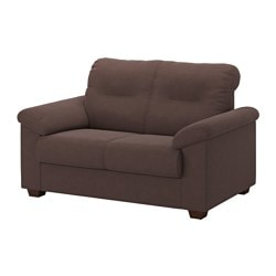 "KNISLINGE loveseat, Samsta dark brown Width: 59 "" Depth: 37 3/8 "" Height under furniture: 2 "" Width: 150 cm Depth: 95 cm Height under furniture: 5 cm"