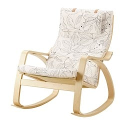 POÄNG rocking-chair, birch veneer, Vislanda black/white