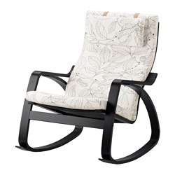 POÄNG rocking-chair, black-brown, Vislanda black/white
