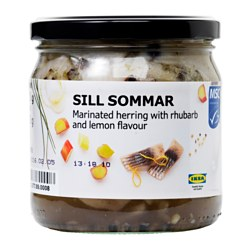 SILL SOMMAR marinated herring w/rhubarb & lemon Net weight: 14.8 oz Net weight: 420 g