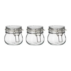 KORKEN jar with lid, clear glass Height: 7 cm Diameter: 7 cm Volume: 13 cl
