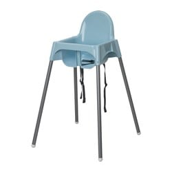 ANTILOP highchair with safety belt, light blue, silver-colour