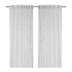 PLYMÖRT sheer curtains, 1 pair, white, flowers Length: 250 cm Width: 145 cm Area: 3.63 m²