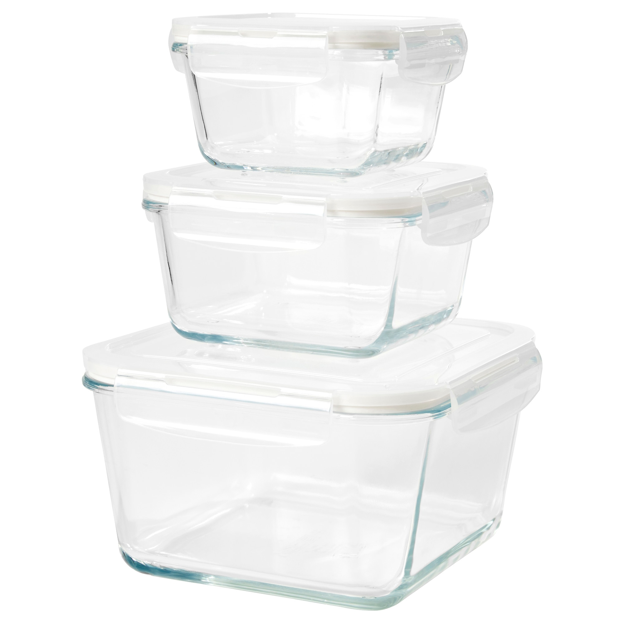FRTROLIG food container, set of 3, clear glass