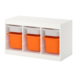 TROFAST storage combination with boxes, white, orange Width: 99 cm Height: 56 cm