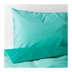 "SOMMAR 2017 duvet cover and pillowcase(s), turquoise, dark turquoise Thread count: 144 square inches Pillowcase quantity: 2 pack Duvet cover length: 86 "" Thread count: 144 square inches Pillowcase quantity: 2 pack Duvet cover length: 218 cm"