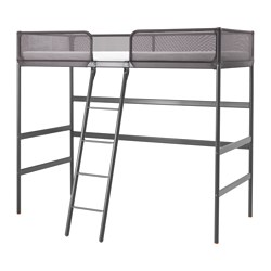 TUFFING, Loft bed frame, dark gray