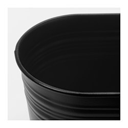 SOCKER plant pot, in/outdoor, oval black Length: 40 cm Width: 12 cm Max. diameter flowerpot: 10.5 cm