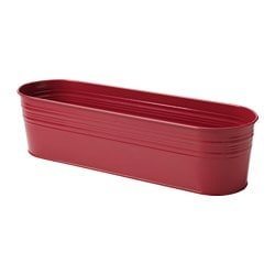 SOCKER plant pot, in/outdoor, oval red Length: 40 cm Width: 12 cm Max. diameter flowerpot: 10.5 cm