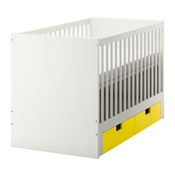 "STUVA crib with drawers, yellow Length: 54 3/4 "" Width: 29 1/8 "" Height: 36 1/4 "" Length: 139 cm Width: 74.1 cm Height: 92 cm"