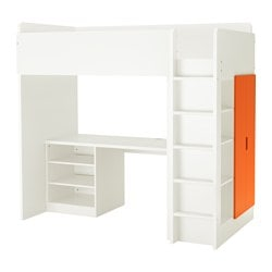 "STUVA loft bed with 2 shelves/2 doors, orange, white Height: 76 "" Bed width: 41 1/2 "" Bed length: 77 1/2 "" Height: 193 cm Bed width: 105.5 cm Bed length: 197 cm"
