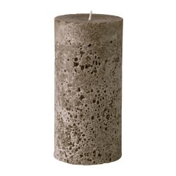 BJUDANDE unscented block candle, brown