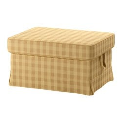 EKTORP footstool cover, Skaftarp yellow